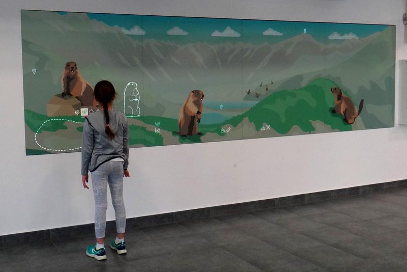 Centrum Edukacji Przyrodniczej TPN -tablica interaktywna o zwyczajach świstaków.