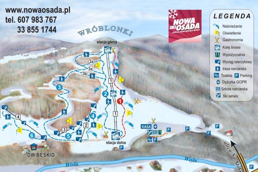 Nowa Osada. Mapa tras narciarskich.