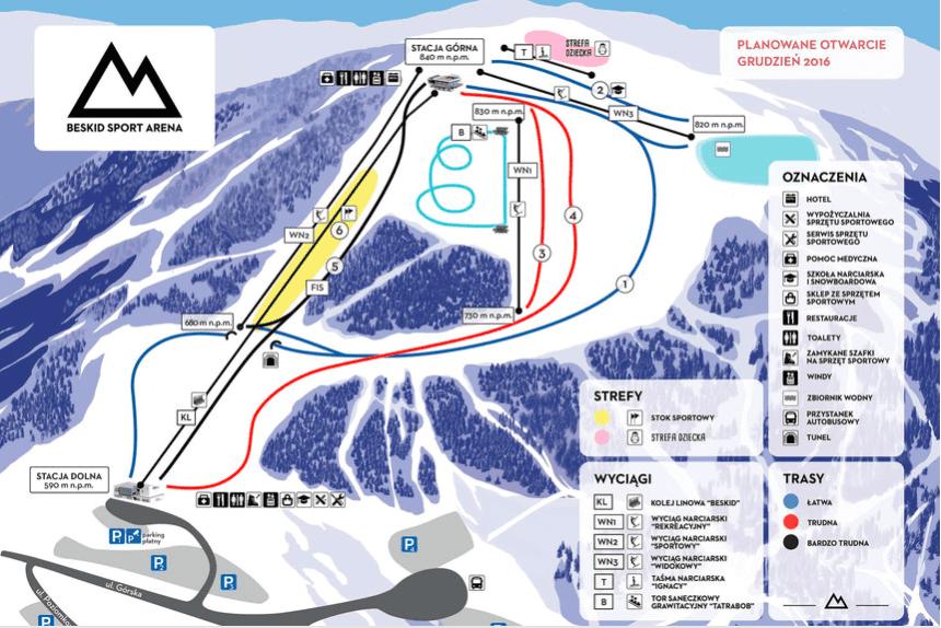 Beskid Sport Arena. Mapa tras narciarskich.