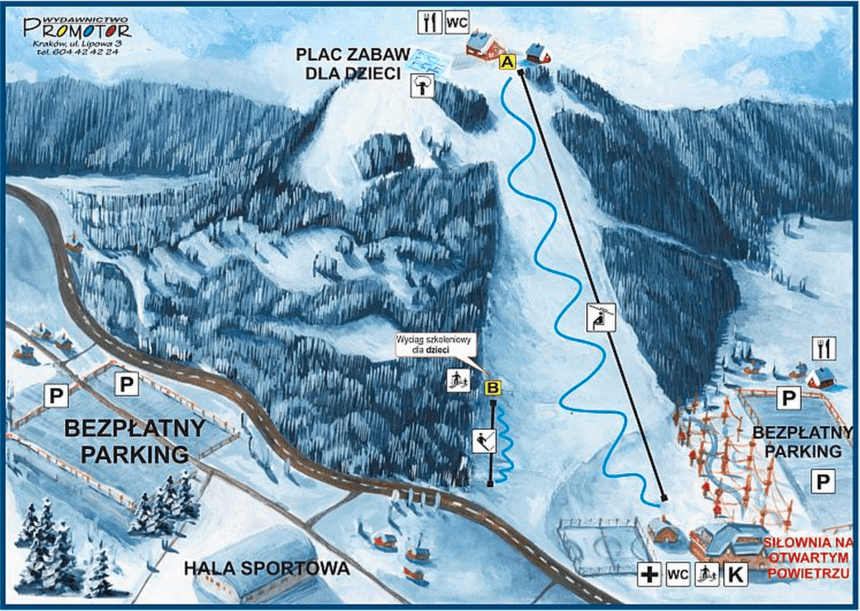 Dębowiec. Mapa tras narciarskich.