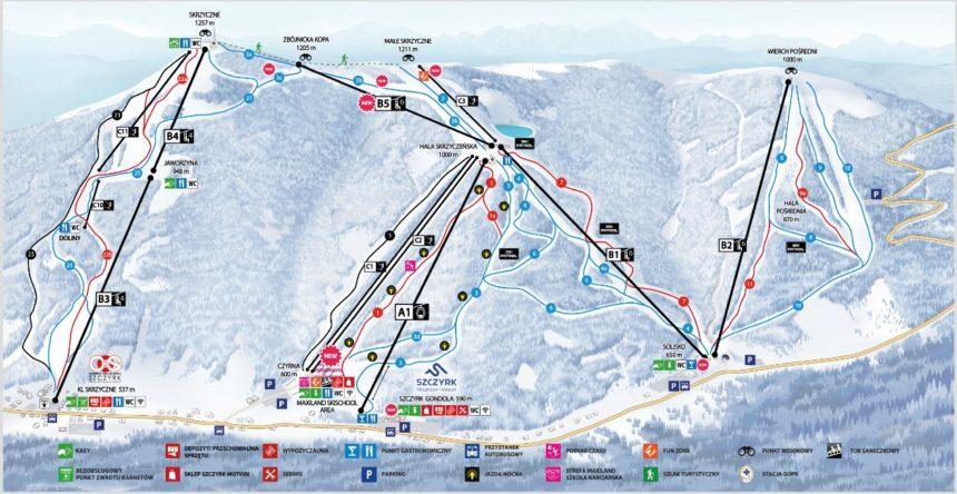 Szczyrk. Mapa tras narciarskich.