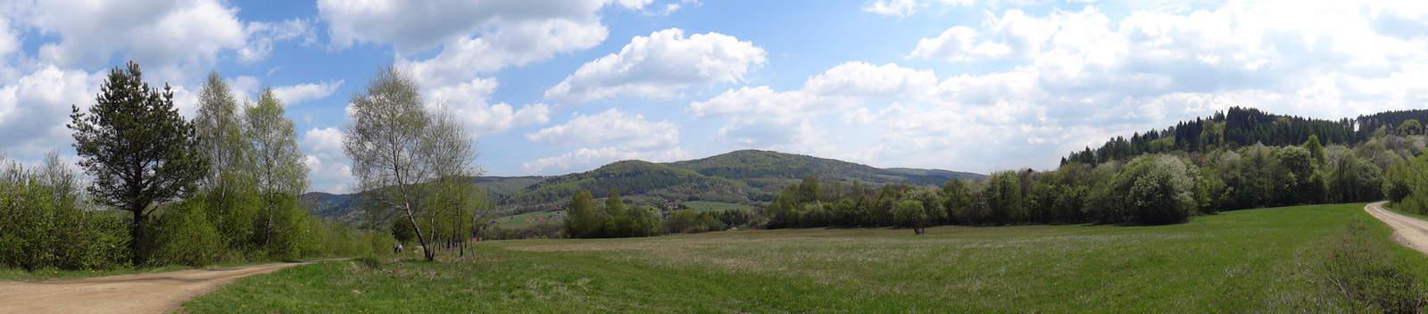 Panorama z zielonego szlaku na Cigelkę.