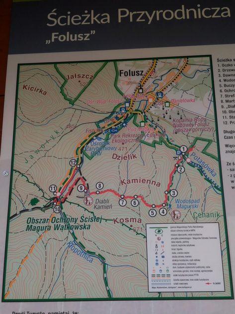 Mapa ścieżki dydaktycznej Folusz.