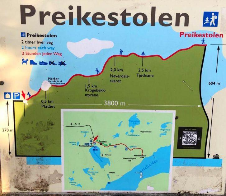 Preikestolen  - mapa trasy.