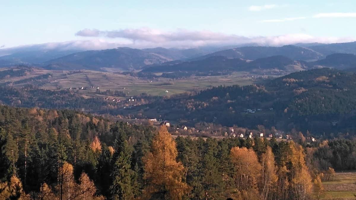 Widok podczas zejścia zielonym szlakiem z Lubonia Wielkiego.
