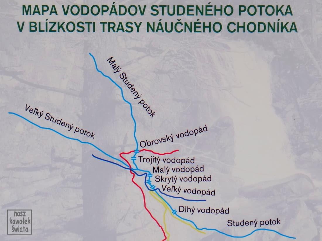 Wodospady Zimnej Wody - mapa.