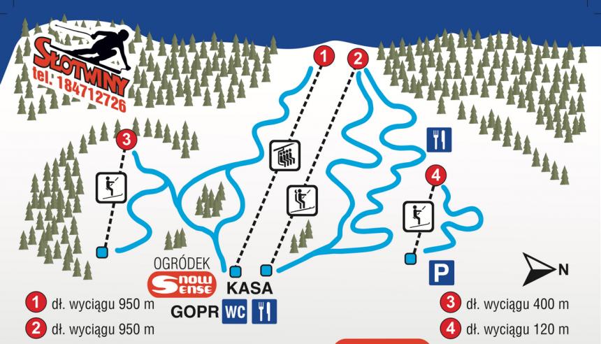 Mapa ośrodka narciarskiego Słotwiny.