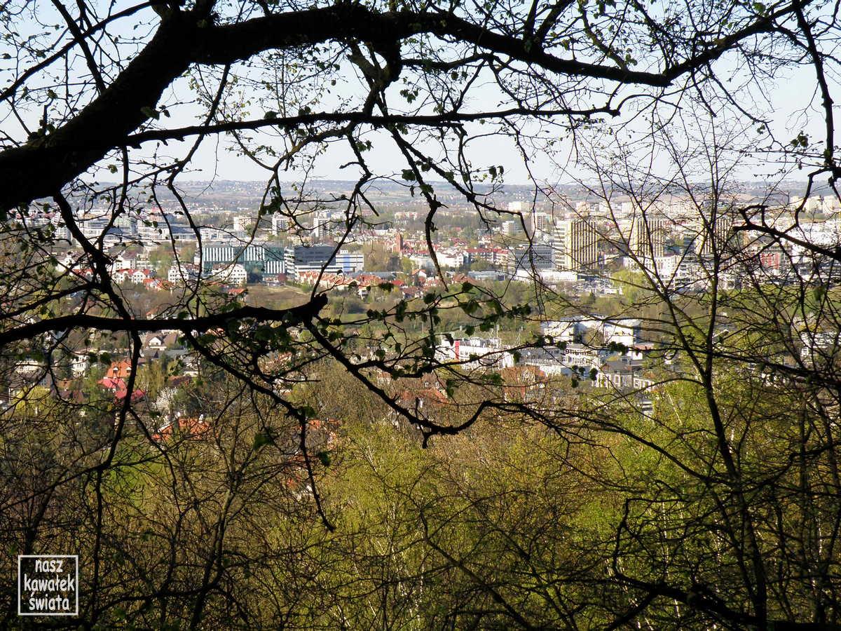 Panorama Krakowa z punktu widokowego na Szlaku Dwóch Kopców.