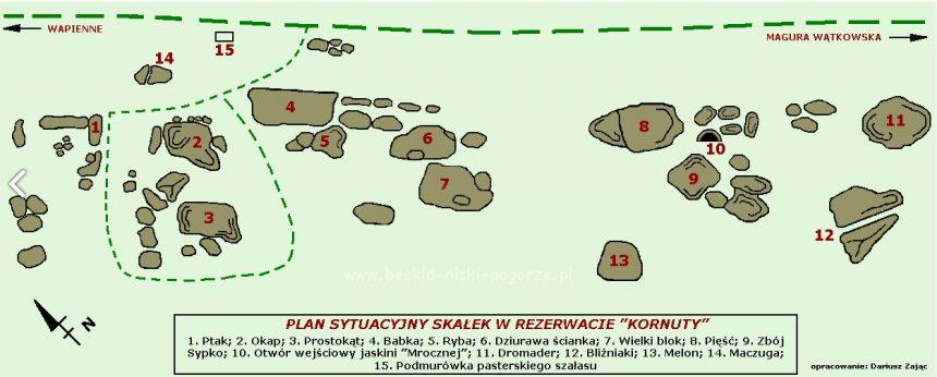 Mapa rezerwatu Kornuty.