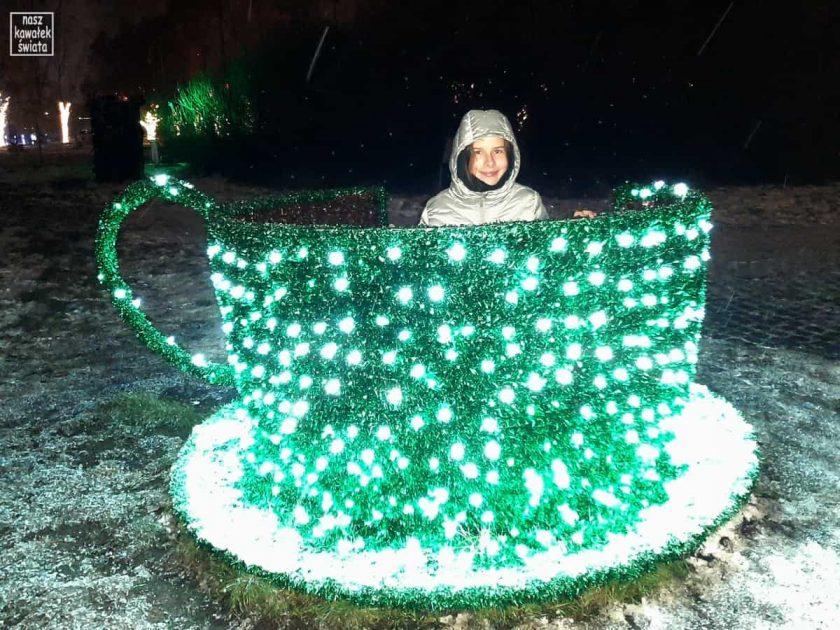 Ogród świateł Alicja w Krainie Czarów. LEDowa filiżanka.
