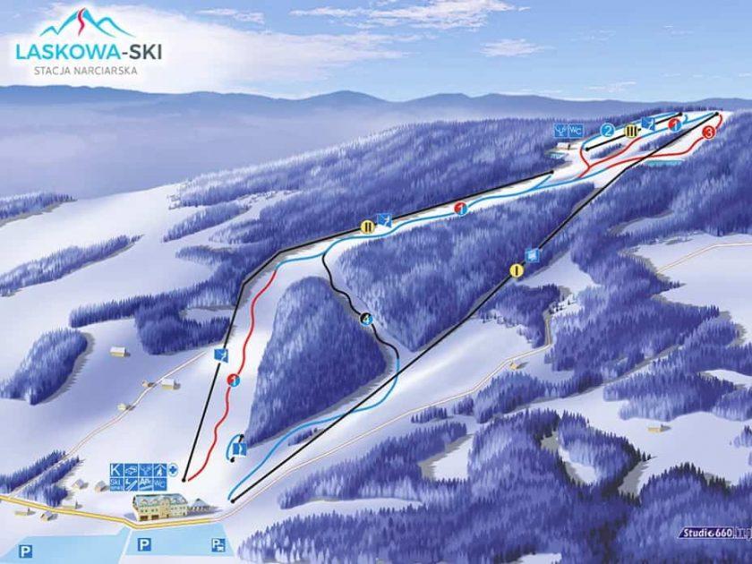 Laskowa Ski - mapa ośrodka