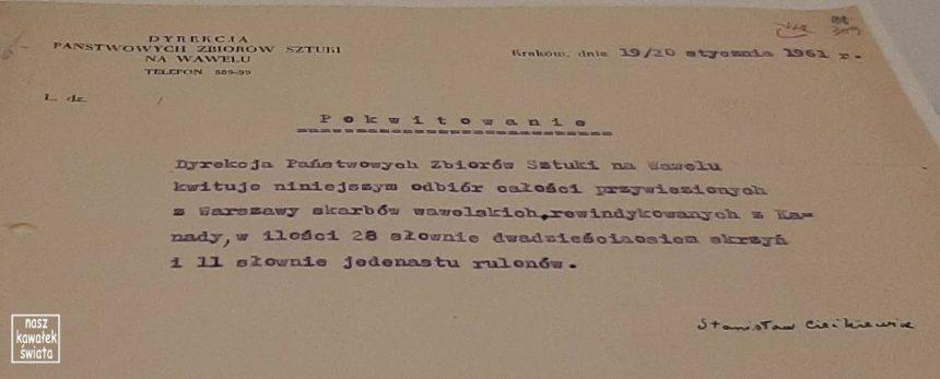 Pokwitowanie odbioru arrasów 1961