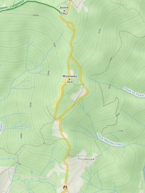Mapa z przebiegiem szlaku na Jasień